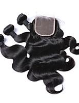 Недорогие -Человека ткет Волосы Наращивание волос 4 предмета Бразильские волосы Черный Ткет человеческих волос 0.45