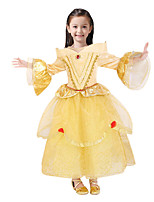 cheap -Princess Fairytale One Piece Dress Party Costume Kid Christmas Birthday Masquerade Festival / Holiday Halloween Costumes Yellow Solid