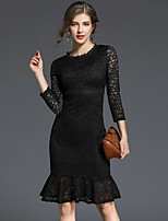 cheap -Women's Party Going out Casual Street chic A Line Lace Dress,Solid Round Neck Knee-length Long Sleeve Cotton Polyester Winter Fall High