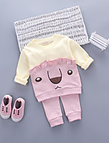 cheap -Girls' Daily Going out Print Cartoon Clothing Set,Cotton Acrylic All Seasons Long Sleeve Cute Casual Active Blushing Pink Light Green