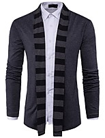 cheap -Men's Daily Casual Regular Cardigan,Color Block Shirt Collar Long Sleeves Polyester Spandex Winter Fall Thick Micro-elastic