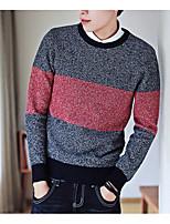 abordables -Hombre Largo Pullover Noche Casual,Un Color Escote Redondo Sin Mangas Poliéster Primavera Otoño Grueso Rígido