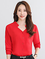 cheap -Women's Daily Casual Blouse,Solid V Neck Long Sleeve Polyester