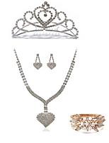 cheap -Women's Tiaras Bridal Jewelry Sets Rhinestone Fashion European Wedding Party Pearl Imitation Diamond Alloy Heart Body Jewelry 1 Necklace