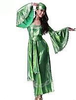 abordables -Marilyn Monroe Vintage Bohemio Disfraz Mujer Accesorios Verde Cosecha Cosplay Chinlon Nailon Media Manga Campana Hasta el Tobillo