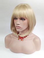 cheap -Women Synthetic Wig Medium Length Straight Blonde Bob Haircut With Bangs Natural Wigs Costume Wig