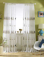 Rod Pocket Grommet Top Tab Top Double Pleat Pencil Pleat Curtain Kids and Teen , Embroidery Floral Kids Room Polyester Blend Material