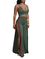 cheap -Women's Going out Club Simple Sexy Summer Fall Tank Top Pant SuitsColor Block Strap Sleeveless Backless Split Polyester Micro-elastic