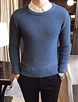 Недорогие -Для мужчин На каждый день Простой Обычный Пуловер Однотонный,Круглый вырез Длинные рукава Полиэстер Зима Осень Толстая Слабоэластичная