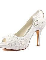 cheap -Women's Shoes Stretch Satin Spring Summer Basic Pump Wedding Shoes Stiletto Heel Peep Toe Crystal Pearl for Party & Evening Dress Ivory