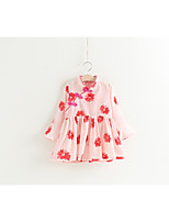 Girl's Holiday Floral Dress,Cotton Polyester Spring 3/4 Length Sleeves Chinoiserie Blushing Pink