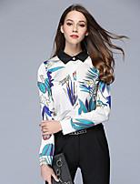cheap -Women's Daily Casual Shirt,Floral Shirt Collar Long Sleeve Silk