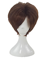 cheap -Men Synthetic Wig Short Curly Brown Layered Haircut Cosplay Wig Natural Wigs Costume Wig