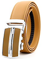 cheap -Men's Leather Alloy Waist Belt,Yellow Party Work Casual Solid Metal Pure Color