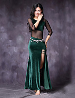 cheap -Belly Dance Dresses Women's Performance Tulle Velvet Chiffon Split Joint Split 3/4 Length Sleeve Natural Dresses