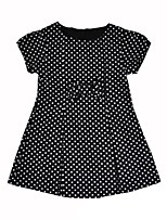 cheap -Girl's Daily Going out Solid Dot Dress,Cotton Summer Short Sleeves Vintage Street chic Black