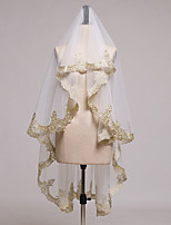 One-tier Lace Applique Edge Bridal Wedding Wedding Veil Fingertip Veils 53 Laces Tulle