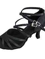 cheap -Women's Latin Satin Sandal Indoor Customized Heel Black White / Customizable