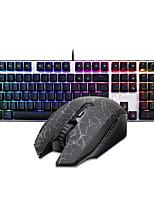 baratos -Dareu com fio teclado mecânico mouse sem fio azul comuta seis chaves 1600dpi