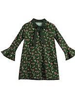 cheap -Girl's Casual/Daily Floral Dress,Polyester Winter Fall Long Sleeves Simple Green