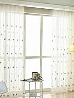 Недорогие -Нанизать стержень занавески Люверс занавески Вешалка занавески Морщиться В обтяжку Окно Лечение Деревенский , Вышивка Цветочный принт