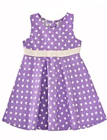cheap -Girl's Daily Going out Heart Dress,Cotton Summer Sleeveless Cute Active Lavender
