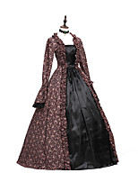 cheap -Rococo Victorian Adults' One Piece Dress Party Costume Masquerade Cosplay Brown Floral Long Sleeves