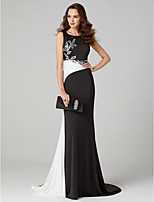 cheap -Mermaid / Trumpet Jewel Neck Sweep / Brush Train Jersey Formal Evening Dress with Beading Color Block by TS Couture®