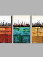 Недорогие -Ручная роспись Абстракция Modern Холст Hang-роспись маслом Украшение дома 3 панели