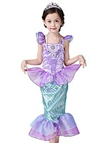 cheap -The Little Mermaid One Piece Dress Kid Halloween Festival / Holiday Halloween Costumes Purple Light Purple Mermaid