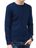 economico -Standard Pullover Da uomo-Per uscire Casual Semplice Attivo Moda città Tinta unita Rotonda Manica lunga Poliestere Elastene Cotone