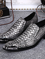cheap -Men's Shoes Nappa Leather Spring Fall Formal Shoes Comfort Oxfords for Casual Party & Evening Blue Silver