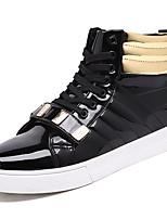 preiswerte -Herren Schuhe Gummi Winter Herbst Komfort Sneakers Walking Mittelhohe Stiefel Band-Bindung für Weiß Schwarz
