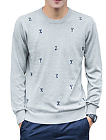 cheap -Men's Daily Work Casual Active Street chic Regular Pullover,Solid Galaxy Print Round Neck Long Sleeves Polyester Spandex Japanese Cotton