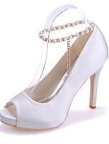 Femme Chaussures Satin Printemps Eté Escarpin Basique Chaussures de mariage Talon Aiguille Bout ouvert Imitation Perle pour Mariage