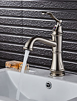 Art Deco / Retro Centerset Widespread Ceramic Valve Single Handle One Hole Brushed , Bathroom Sink Faucet