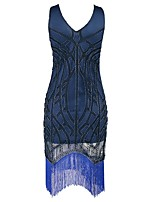 cheap -The Great Gatsby Vintage 1920s Costume Women's Party Costume Flapper Dress Cocktail Dress Blue Vintage Cosplay Polyester Sleeveless Cold
