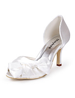 cheap -Women's Shoes Silk Spring Summer Basic Pump Wedding Shoes Stiletto Heel Peep Toe Bowknot for Wedding Party & Evening White