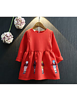 cheap -Girl's Christmas Birthday Solid Embroidery Dress,Cotton Polyester Spring Fall Long Sleeves Cute Red