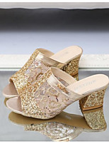 Women's Shoes Rubber PU Spring Fall Comfort Slippers & Flip-Flops Low Heel for Casual Gold Silver