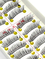 cheap -10 Eyelashes lash Full Strip Lashes Eyelash Natural Long Natural Handmade Fiber Black Band 0.07mm