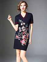 8CFAMILY Women's Going out Vintage A Line Dress,Floral V Neck Above Knee 3/4 Sleeve Polyester Nylon Winter Mid Rise Micro-elastic Opaque Thick