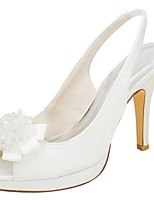 cheap -Women's Shoes Stretch Satin Summer Basic Pump Wedding Shoes Stiletto Heel Peep Toe Pearl for Party & Evening Dress Ivory