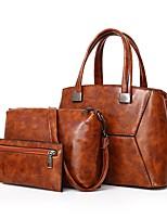 cheap -Women Bags PU Bag Set 3 Pcs Purse Set Zipper for Outdoor Office & Career All Season Brown Gray Red Black Blue
