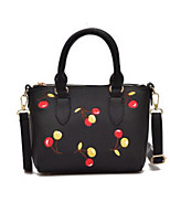 cheap -Women Bags PU Polyester Tote Embroidery Zipper for Casual All Season Blushing Pink Red Black White Green