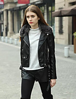 cheap -Women's Daily Vintage Fall Leather Jacket,Solid V Neck Long Sleeve Regular PU Polyester Oversized