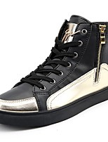cheap -Men's Shoes Rubber Spring Fall Comfort Sneakers Ribbon Tie for Outdoor Black/Gold Silver Black