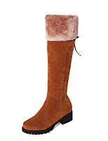 Недорогие -Для женщин Обувь Нубук Зима Осень Зимние сапоги Модная обувь Ботинки На толстом каблуке Круглый носок Сапоги до колена Сапоги до середины