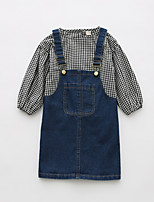 Girls' Color Block Houndstooth Clothing Set,Cotton Spring Fall Long Sleeve Cute Blue