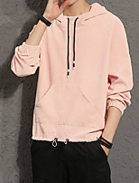 cheap -Men's Casual/Daily Hoodie Solid Hooded Micro-elastic Polyester Long Sleeves Fall